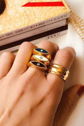 Adjusatble Ladies Vintage Gold Color Blue White Black Enamel Ring Sets Minimal Evil Eye Gold Rings