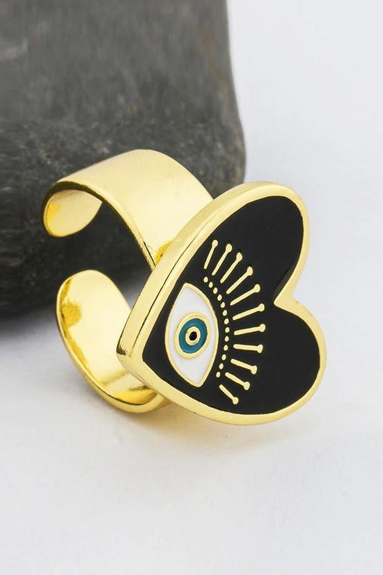 Evil Eye Adjustable Ring - Black - Jewelry