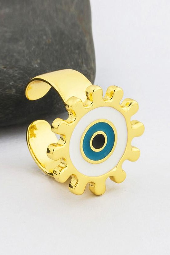 Evil Eye Adjustable Ring - White Circle - Jewelry