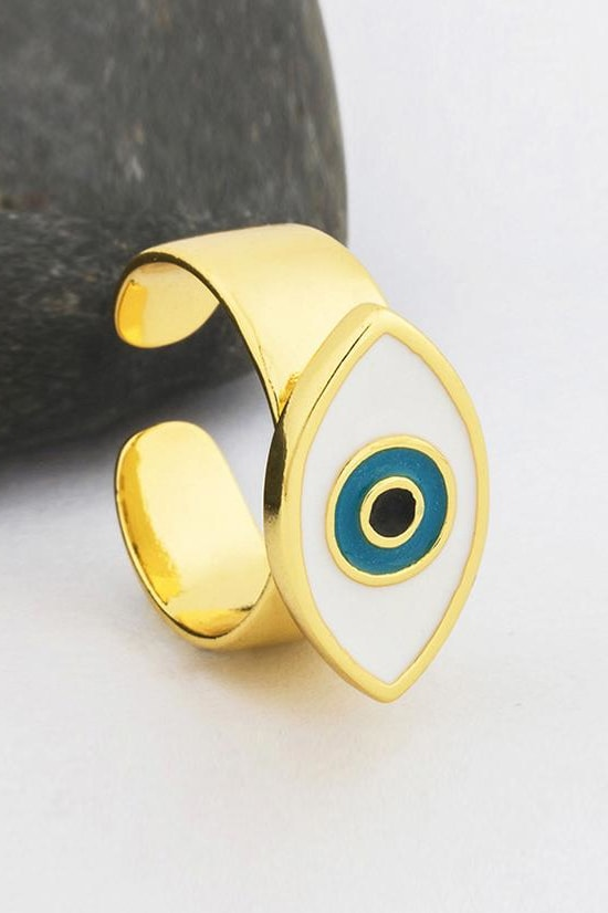 Evil Eye Adjustable Ring - White - Jewelry