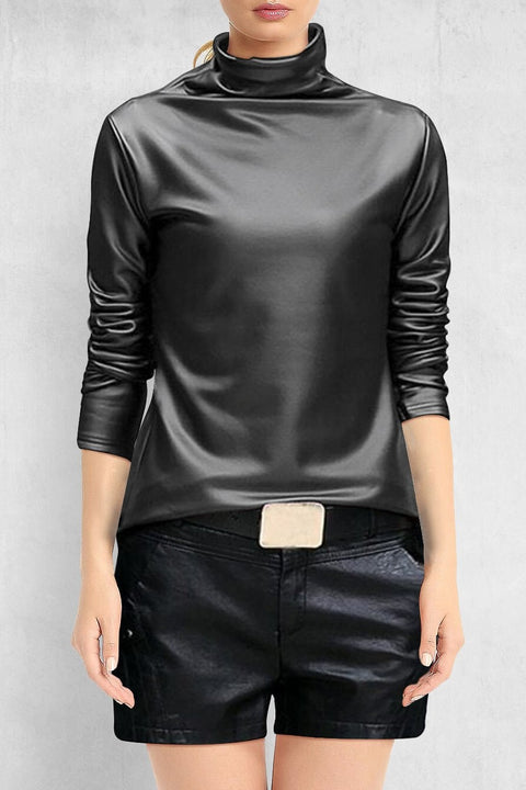 Faux Leather Turtleneck (Pleather) - Black / M - Clothing