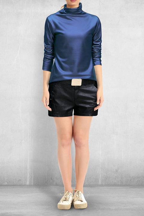 Faux Leather Turtleneck (Pleather) - Blue / M - Clothing