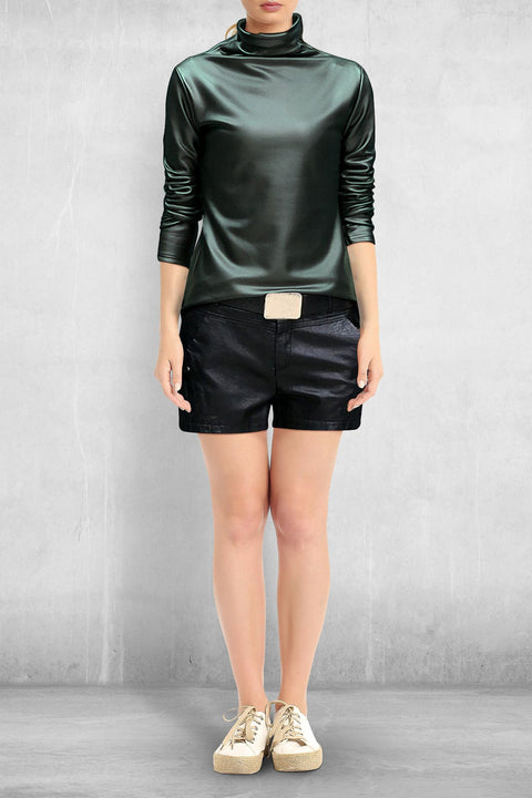 Faux Leather Turtleneck (Pleather) - Green / M - Clothing