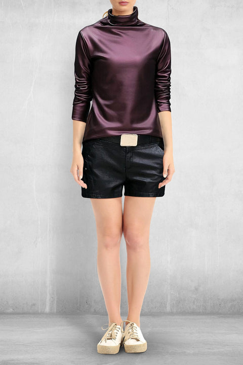 Faux Leather Turtleneck (Pleather) - Purple / M - Clothing