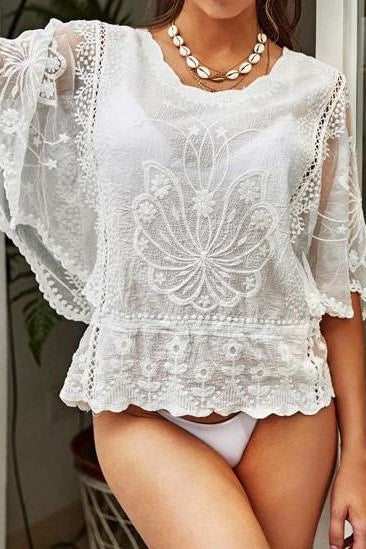 Flora Lace Beach Top - One Size / White - Tops