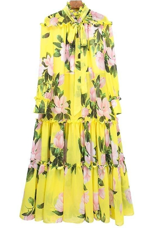 Floral Bow Belt Midi Dress - Clothing
