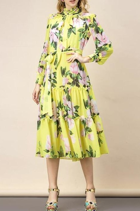 Floral Bow Belt Midi Dress - Yellow / 6 - Clothing