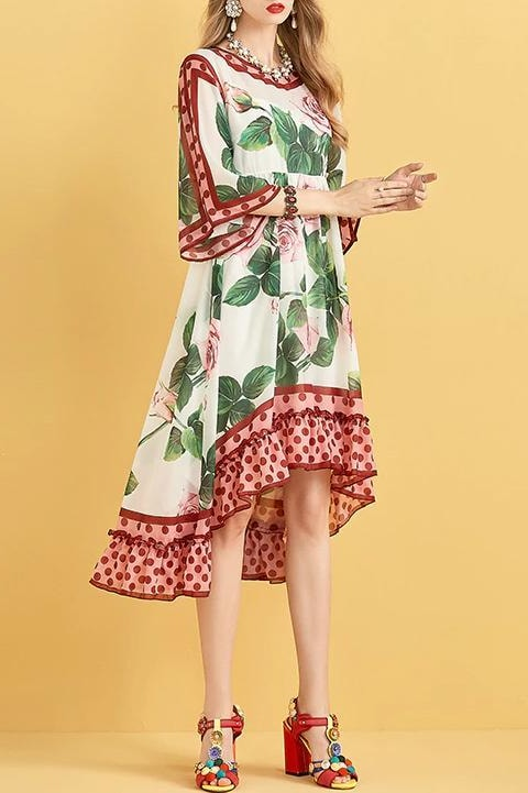 Floral Polka Dot Asymmetrical Midi Dress - Clothing
