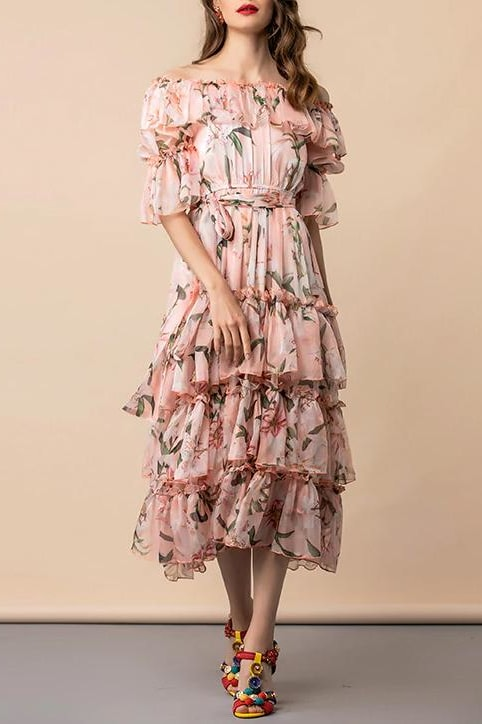 Floral Ruffle Tiered Dress - Clothing