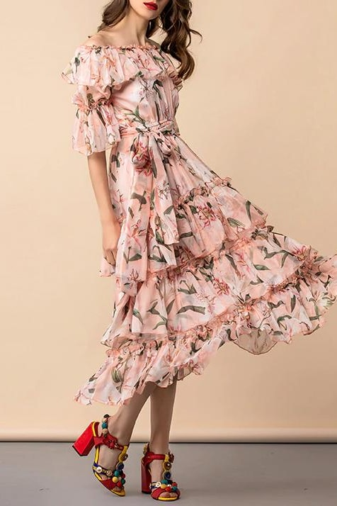 Floral Ruffle Tiered Dress - Pink / 6 - Clothing