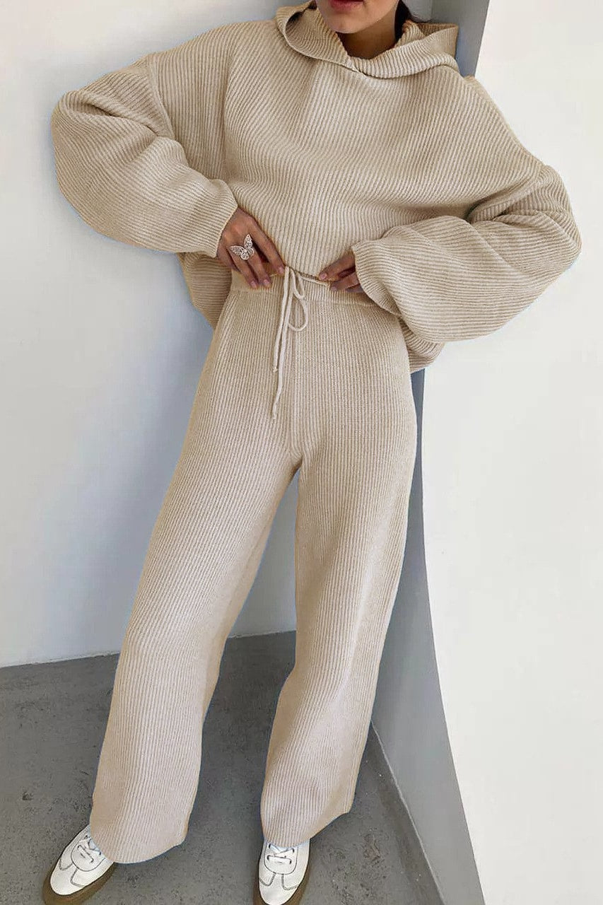 Francesca Knitted Hoodie Set - S / Ivory