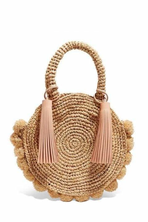 Jeena Pom Pom Woven Bag - Brown - Handbags