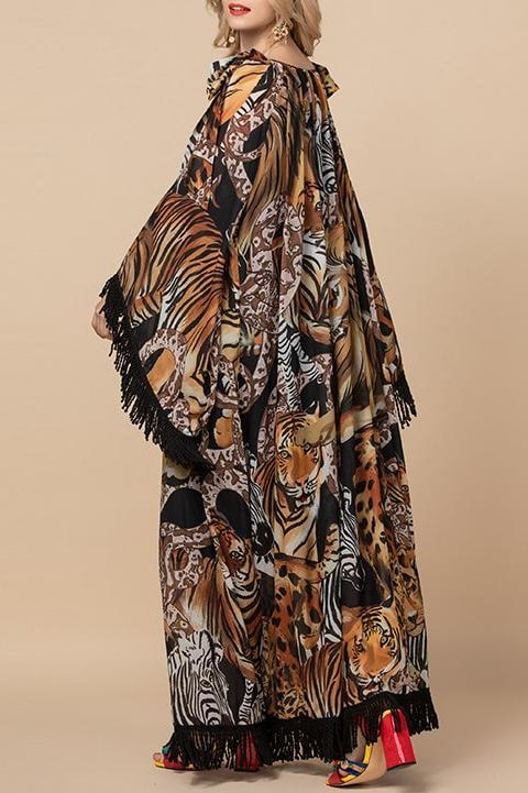 Jungle Fringe Maxi Dress - Clothing