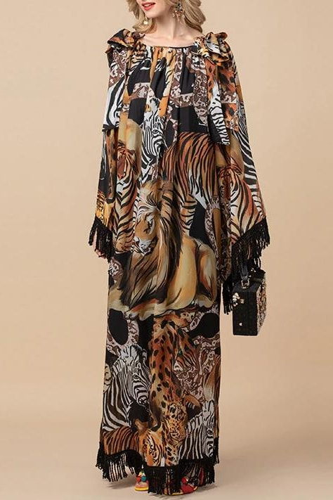 Jungle Fringe Maxi Dress - Brown / 14 - Clothing