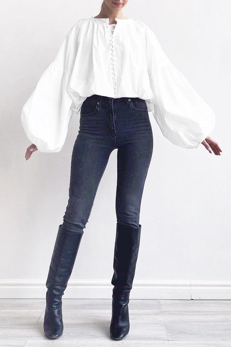 Katrine Button Up Blouse - S / White - Clothing