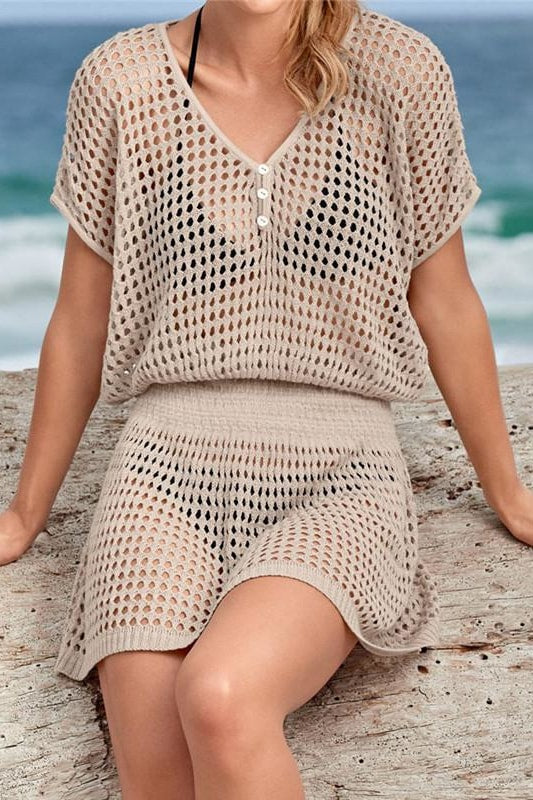 Key West Crochet Cover Up Dress - Tan / One Size - Cover-Ups