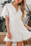 Lacey Pom Pom Dress - White / L - Clothing