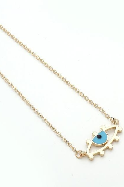 Chic Gold Chain Colorful Rhinestone Filled Evil Eye Coin Bohemian Gold Necklaces - Style8