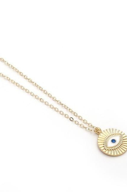 Chic Gold Chain Colorful Rhinestone Filled Evil Eye Coin Bohemian Gold Necklaces - Style13
