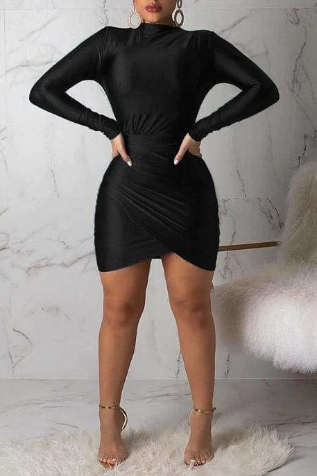 Lauryn Mini Dress - Black / L - Clothing