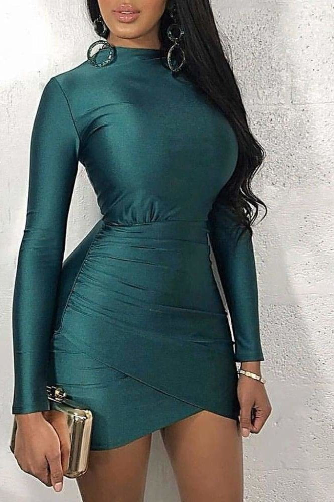 Lauryn Mini Dress - Teal / L - Clothing