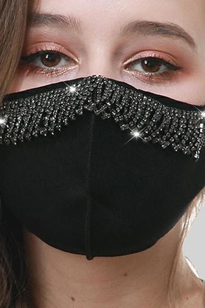 Mini Crystal Mask - Black Fringe - Accessories