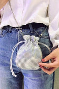 Mini Silver Lamé Pouch - Handbags