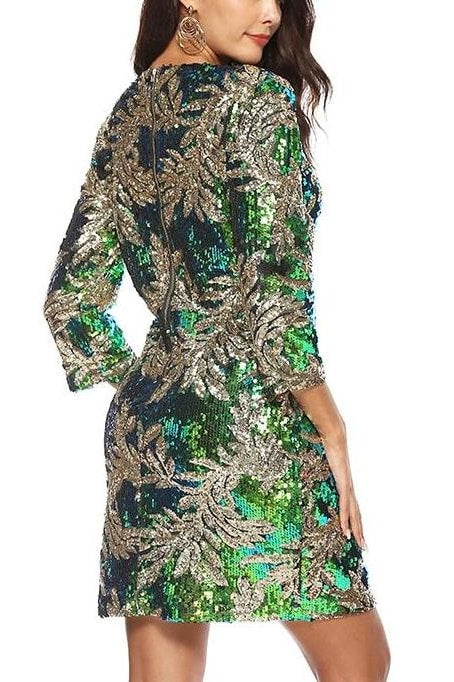 Olympia Sequin Dress (Green) - Clothing