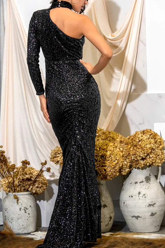 One Sleeve Sequin Gown - Clothing