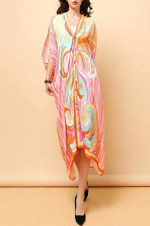 Open Sleeve Flow Dress - Pink / Clothing