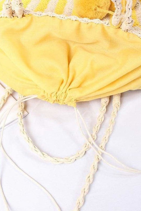 Paulie Pom Pom Straw Bag (Yellow) - Handbags
