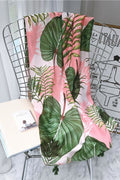 Pink Palm Leaves Tassel Scarf - Accessories