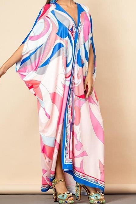Pink Swirl V-Neck Kaftan Dress - Clothing
