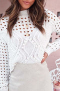 Sabrina Cut-Out Sweater - White / S - Clothing