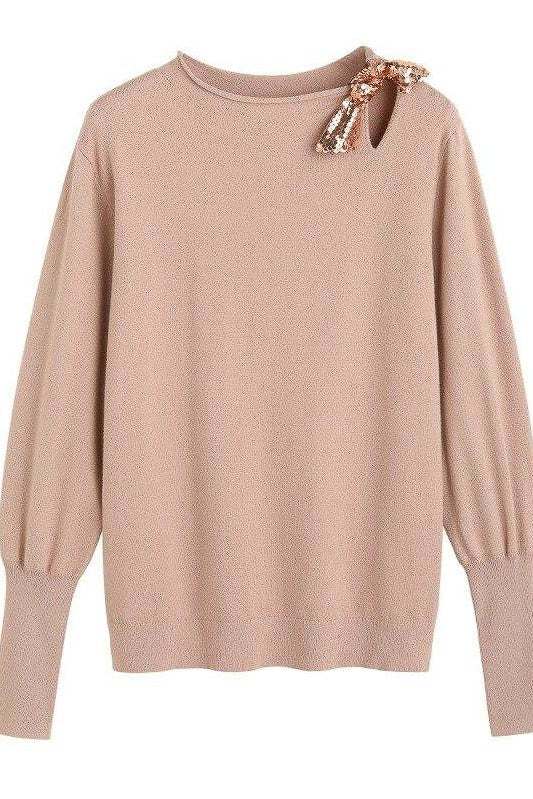 Sequin Bow Knit Sweater - Beige / L - Tops