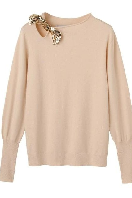Bow Knit Sweater - Ivory / L - Tops