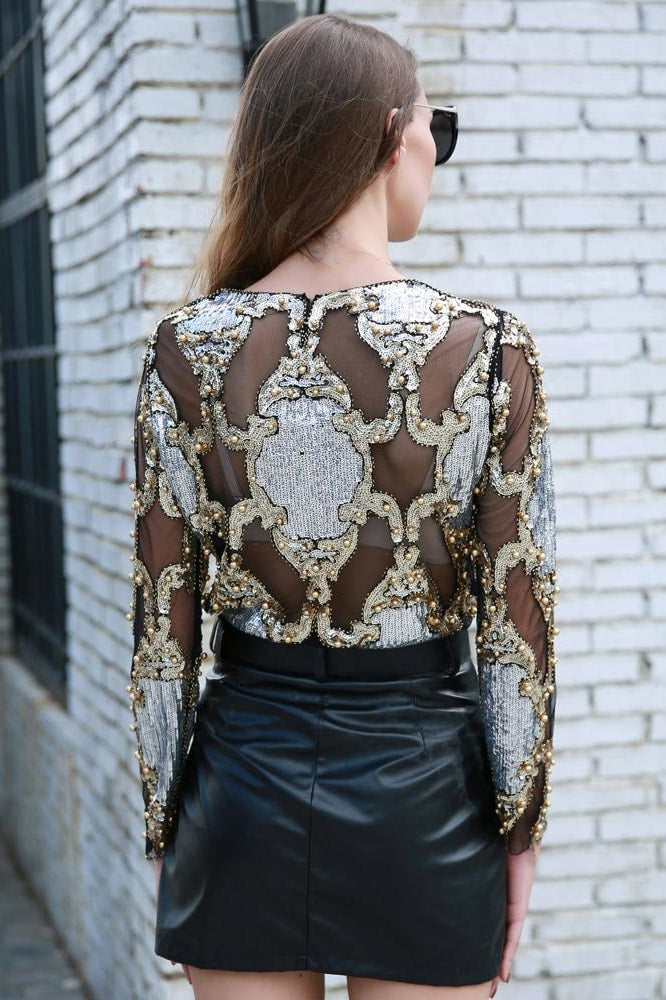 Sequin Mesh Top - Clothing