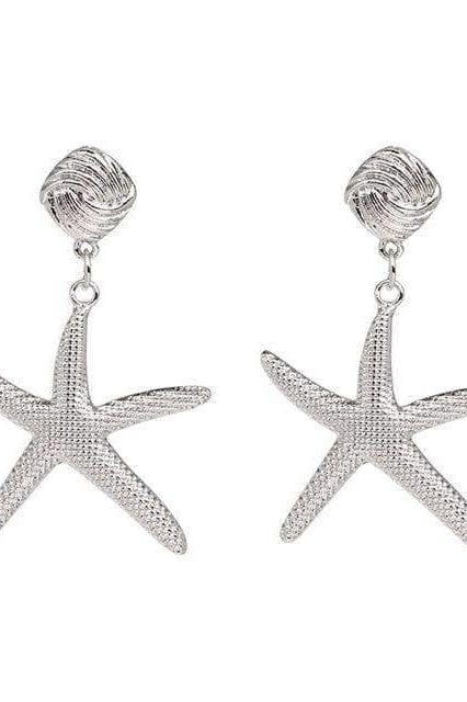 Starfish Earrings - Silver - Jewelry