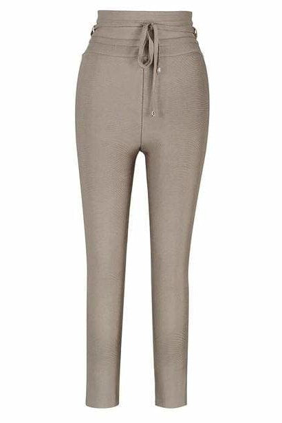 Stephanie High Waist Pants - Brown / L - Clothing