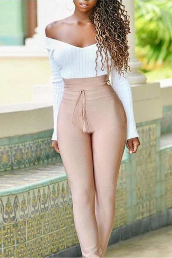 Stephanie High Waist Pants - Tan / L - Clothing