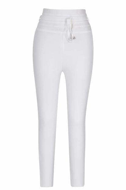 Stephanie High Waist Pants - White / L - Clothing