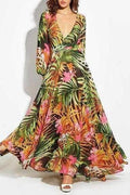 Tropical Print Vintage Maxi Dress - Orange / S - Clothing