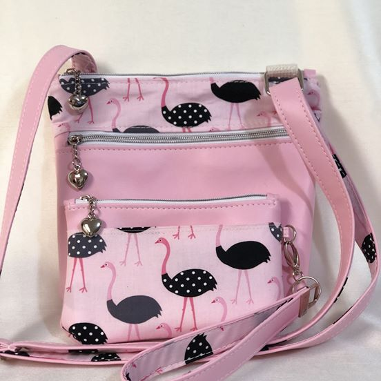 Pink Flamingo Crossbody and Pouch