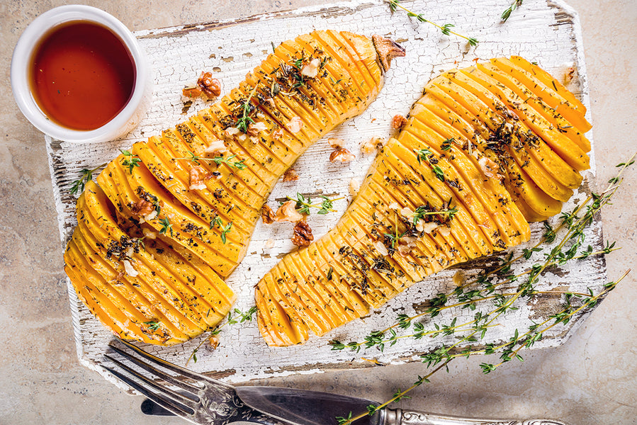 The Hasselback Butternut Squash With Brown Butter & Maple Syrup