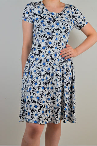 Husen Moda Polka Dot Navy Cap Sleeve Dress