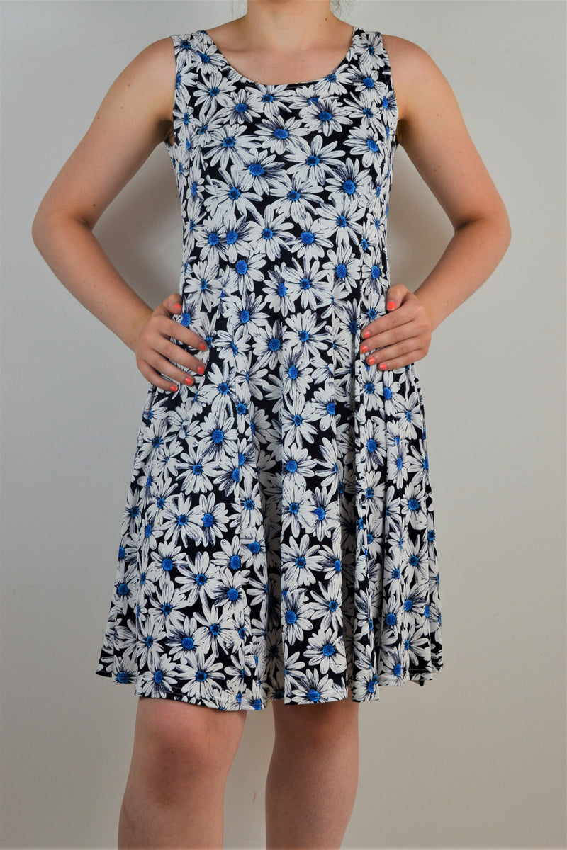 Husen Moda Blue Daisy Sleeveless Dress