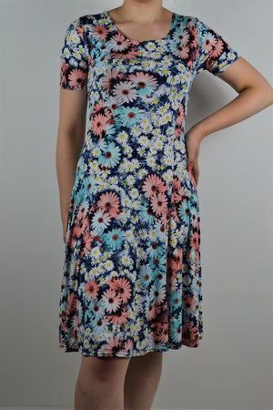 Husen Moda Turquoise Blue Bold Floral Cap Sleeve Dress