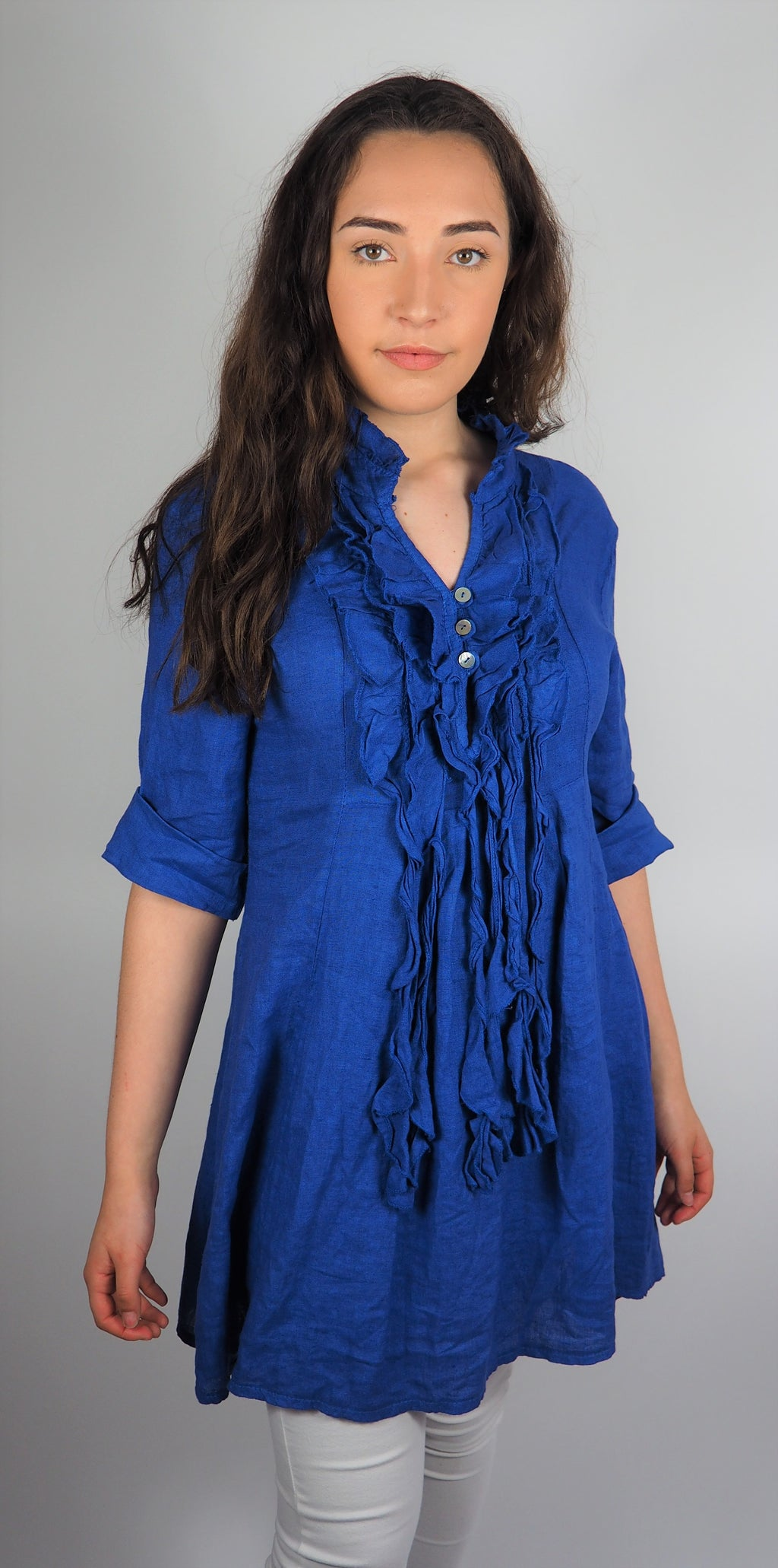Husen Moda Royal Blue Linen Tunic