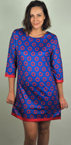 Husen Moda Blue & Red Print Dress