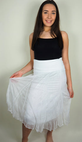 Husen Moda White Cotton Skirt